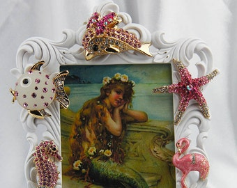 Stunning Jeweled, Rhinestone and Crystals, Sealife Themed Ornate Pink Picture Frame, All Occasion Gift