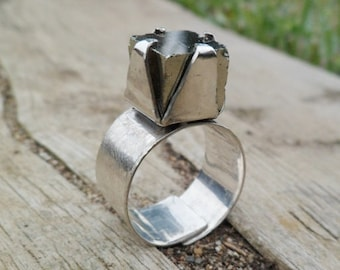 Pyrite Ring. Pyrite Cube And Sterling Silver Ring. Adjustable Ring. Handmade. Mineral Ring. Gemstone. Stone. Pyrite Ring.
