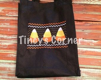 Faux Smocked Candy Corn Trick or Treat Bag