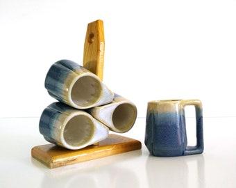 Vintage Drip Glaze Padilla style Mugs / Wood rack with four stacking mugs