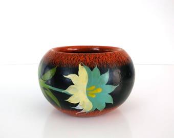 Vintage Mexican Planter / 8 1/2 inch clay planter / Folk Art / Boho decor