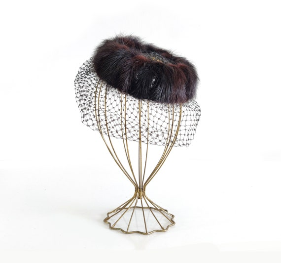 1940s Mink Fascinator with Birdcage veil