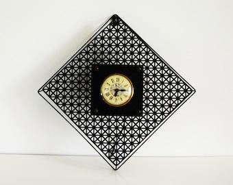 Mid Century Black Mesh Wall Clock, Bilt Rite geometric metal electric clock, Vintage wall decor