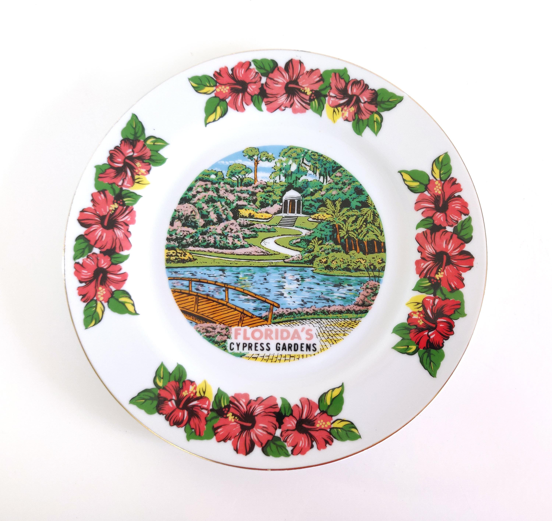 vintage florida cypress gardens souvenir plate