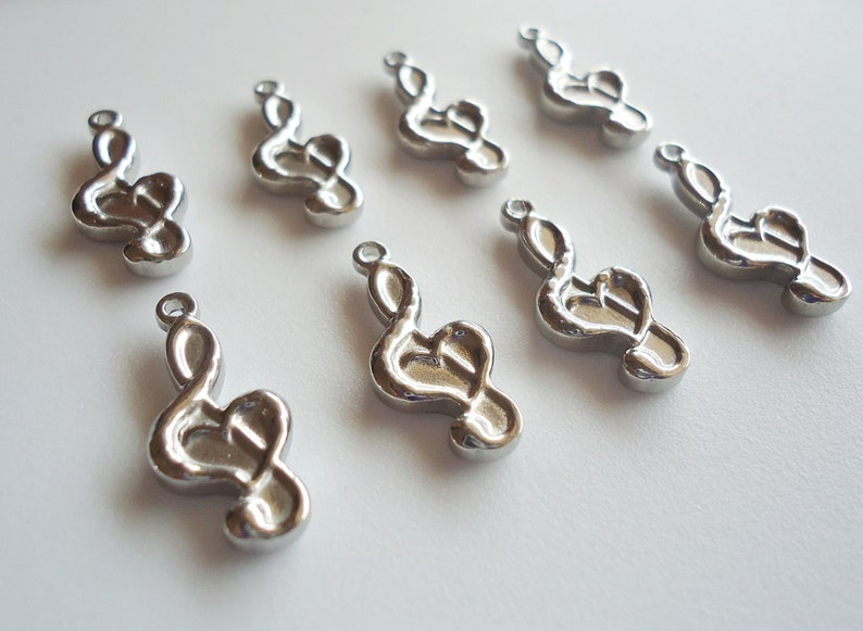Stainless Steel Silver Treble Clefs with Hearts