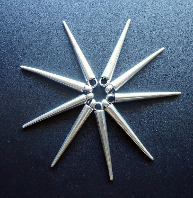 1 14 Long Metal Spike Pendants  Charms Antique Silver