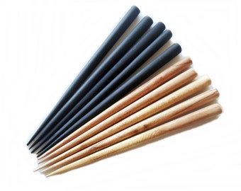 Six Inch Brown Wooden Hair Sticks - Mixed Colors - End Drilled - Set of 10 (5 Black/ 5 Brown)