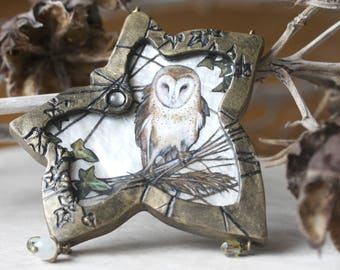 Barn Owl Painting, Ivy Sculpture, Woodland Art Object, Owl Lover Gift, Owl Art, Faerie Art, Miniature Painting, Wall Hanging, Fae Gifts, Owl