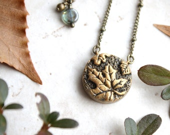 Leaf Necklace, Silver Leaf Pendant, Nature Jewelry, Maple Leaf Necklace, Nature Inspired Jewellery, Oak Leaf Charm, Gold Leaves Necklace