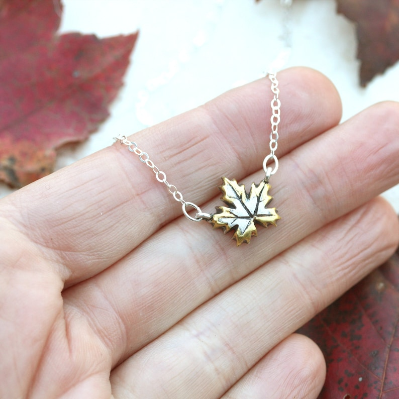 Strength Jewelry Fine Silver and Gold Pendant Botanical Charm Autumn Leaves Maple Leaf Necklace Two Tone