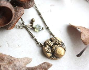 Acorn Necklace, Gold Acorn Charm, Druid Necklace, Fall Gift, Autumn Jewelry, Silver Acorn Pendant, Oak Tree Jewellery, Acorn Art
