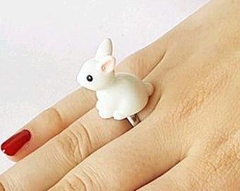 White bunny ring fun adjustable in size original handmade special gift - free shipping