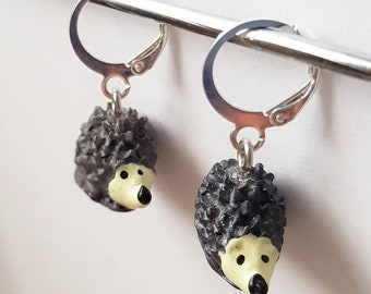 adorable miniature hedgehog earrings