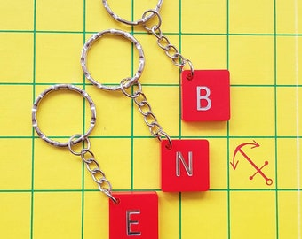 Red Scrabble plastic keychain tile initial letter personalized key chain (wedding give away, birthday present)