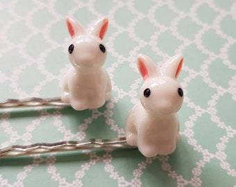 white bunny hairclips Bobby pins set of 2 perfect spring or easter accessory