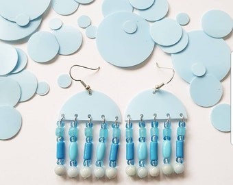 sky blue recycled plastic statement earrings with glass beads