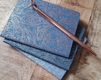 set of 3 A6 blank notebooks with gorgeous print of metallic marble on a grey,  black and blue background