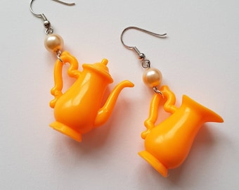 bright orange teapot coffeejar milkjar earrings special handmade jewelry great gift for coffee lovers
