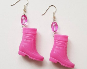 pink boots barbie shoe earrings great gift for ladies and girls original jewelry handmade barbie gift only one pair available