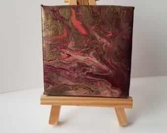 miniature paint pouring canvas on easel 7 x 7 cm