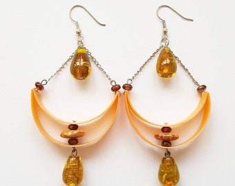 Orange chandelier recycled plastic earrings made from a upcycled plastic bottle with glass beads - one of a kind eco friendly gift