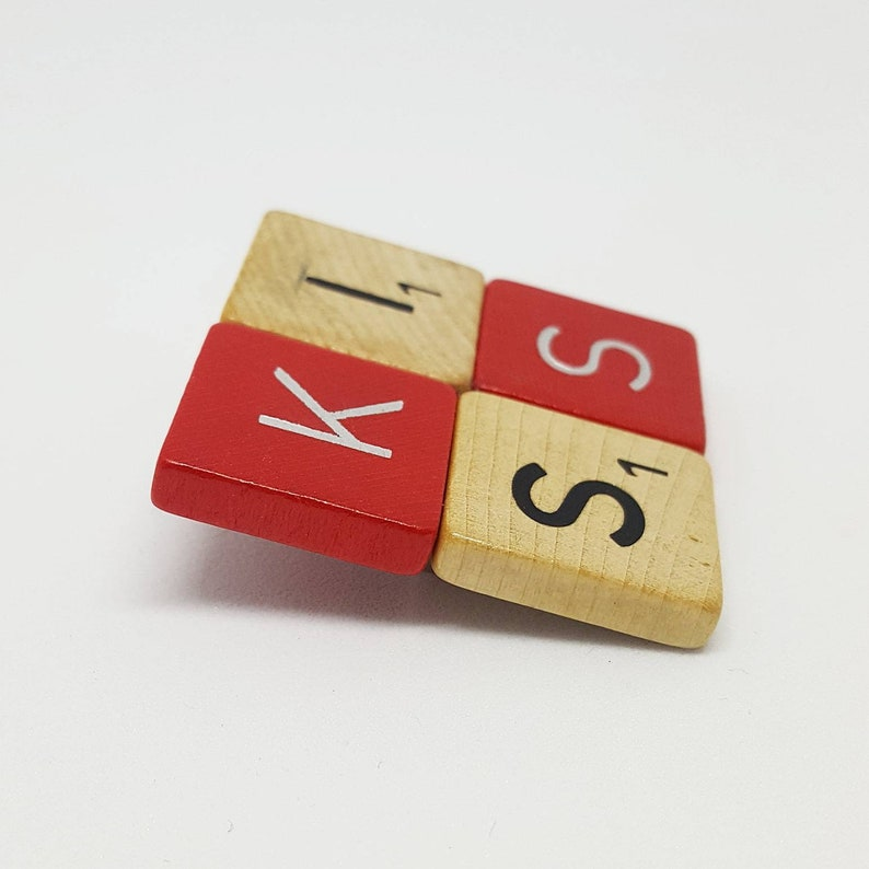 KISS fun jewellery special gift Scrabble brooch words free shipping