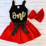Ladybug Birthday Outfit, Gold Applique Tank and Ladybug Skirt, Little Girls Ladybug Outfit, Love Bug, Big Girls Birthday Outfit