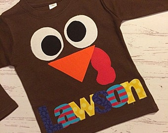 55dd3f2b Silly Turkey Face Shirt for Boys and Girls, Toddler Turkey Face Shirt,  Youth Boy and Girl Thanksgiving Shirt with Name