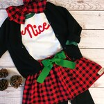 Christmas Skirt Outfit, Naughty or Nice, Buffalo Plaid Skirt, Fabric Applique Clothing, Boutique, Tween Christmas
