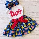 Twotti Frutti Birthday Outfit, Second Birthday, Birthday Clothing Toddler Girl, Two-tti Frutti Dress, Luau Birthday Baby Girl, Watermelon