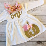 Pumpkin First Birthday Dress, Pink and Gold, Glitter Pumpkin, First Birthday Baby Girl, October Baby, Fall Autumn Birthday