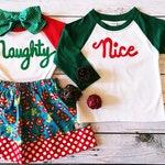 Naughty or Nice Shirts for Children, Christmas Family Shirts, Fabric Applique, Christmas Photo Shoot, Buffalo Plaid, Raglan Shirts