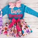 Two Sweet Birthday Outfit, ANY BIRTHDAY, Sweet One Birthday Outfit, Candy Birthday Outfit, Pink and Turquoise Birthday Outfit Toddler Girl