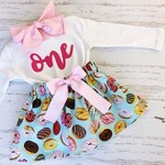 Sweet One Donut Birthday Outfit, ANY BIRTHDAY, Blue and Pink Birthday, Second Birthday Outfit, Donuts and Candy, Little Girls Donut Applique