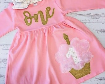 f594f025f First Birthday Dress Pink and Gold, Cupcake Birthday Outfit, Glitter and  Gold, Baby Girl First Birthday Dress, Birthday One