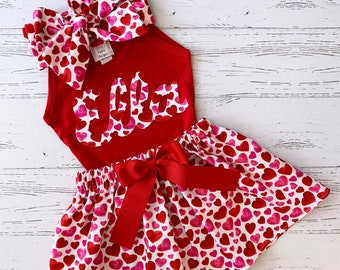 Personalized Valentine Outfit Girls, Heart Skirt, Girls Clothing, Matching Sisters, Photo Shoot, Valentine Skirt, Valentine Shirt