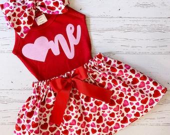 Valentine Birthday Outfit for Girls, Valentine Birthday shirt, First Valentine, Kiss Me, Toddler Girls Clothing, Smooch, Valentine Skirt