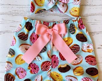 Donut Bloomers for Toddler Girl Birthday, Donut Fabric, Birthday Skirt, Sweet Sophia Designs Skirt