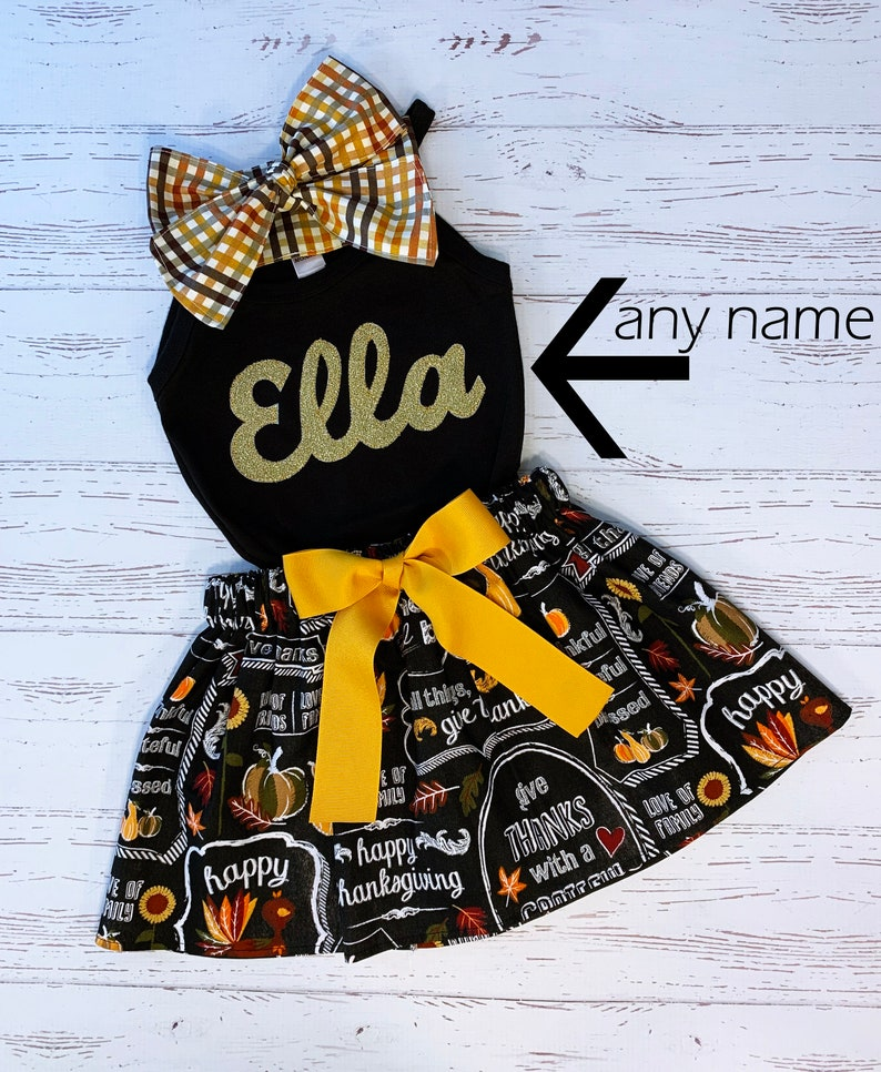 Personalized Thanksgiving Outfit Toddler Girl Miss November image 0