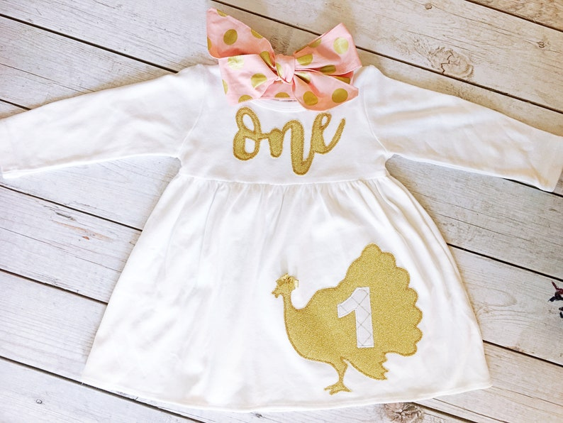 Turkey First Birthday Dress Brown and Pink Dress Color Pink image 0