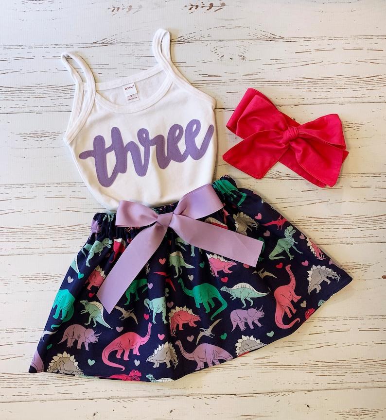 Dinosaur Birthday Outfit Toddler Girl Dinosaur Skirt Lilac image 0