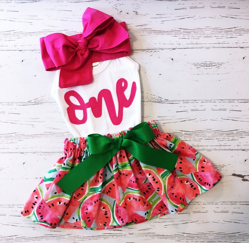 One In a Melon First Birthday Outfit ANY BIRTHDAY Watermelon image 0