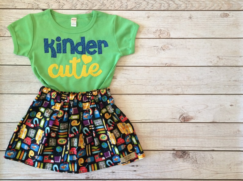 super popular c2dcb e5cc6 First Day of Kindergarten Kinder Cutie Outfit, Little Girls First Day of  School Outfit, Hello Kindergarten Girls Outfit