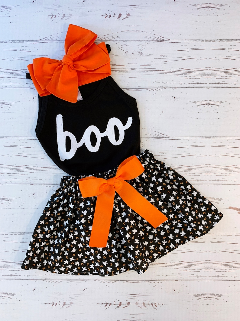 Halloween Outfit Girls Toddler Infant Girls Ghost Skirt BOO image 0