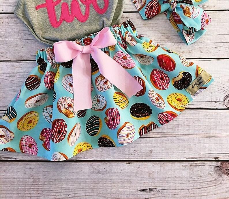 Donut Skirt for Toddler Girl Birthday Donut Fabric Birthday image 0