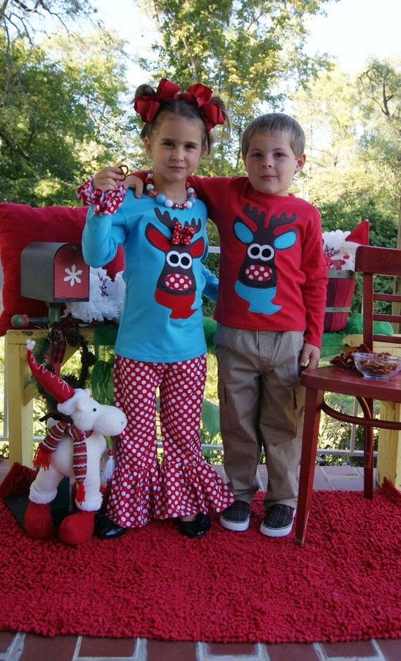 Matching Christmas Outfits Girls Moose Outfit Turquoise and  73bd0a6da
