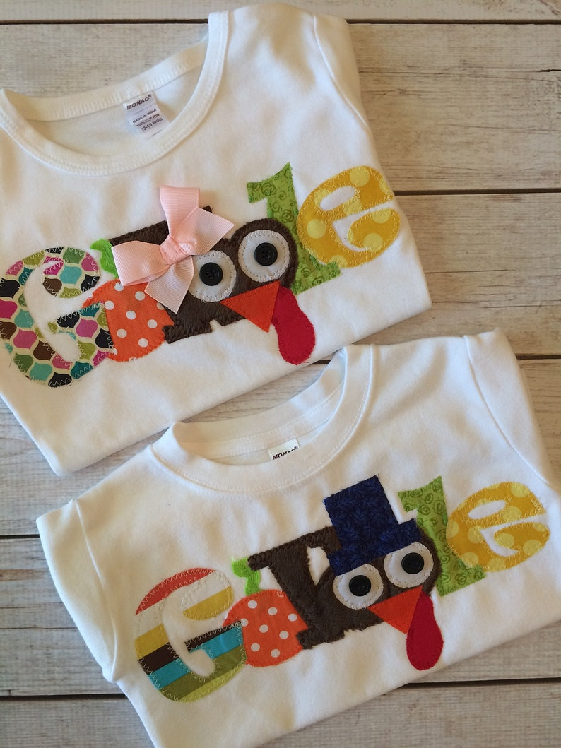 Matching Thanksgiving Shirts Children Gobble Fabric Applique image 0