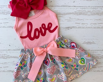 Valentine Outfitfor Girls, Girls Valentine Outfit, Kisses Skirt, Black and Red, Valentine Outfit Kids