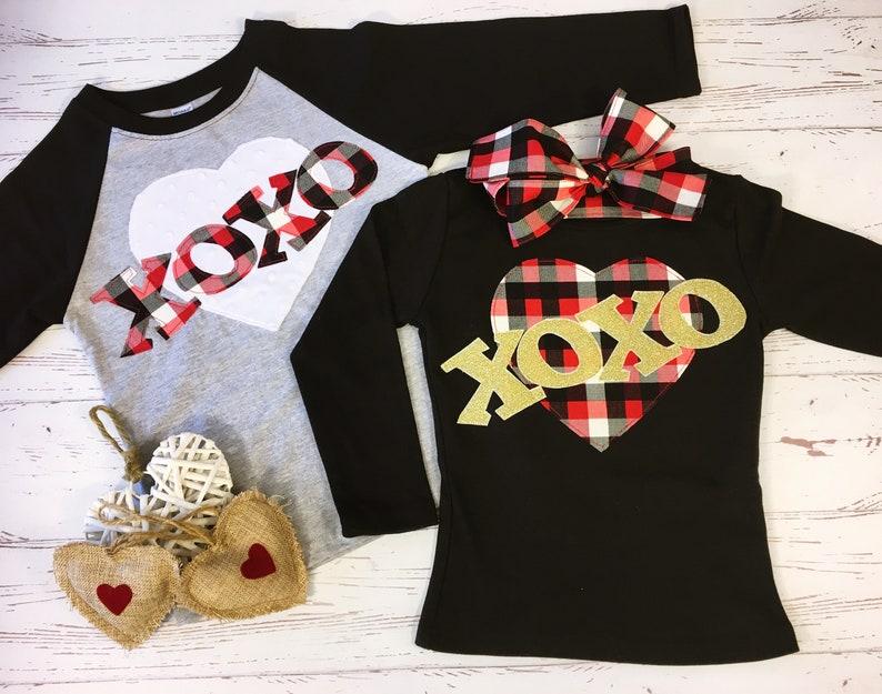 Matching Valentine Shirts for Children Buffalo Plaid XOXO image 0