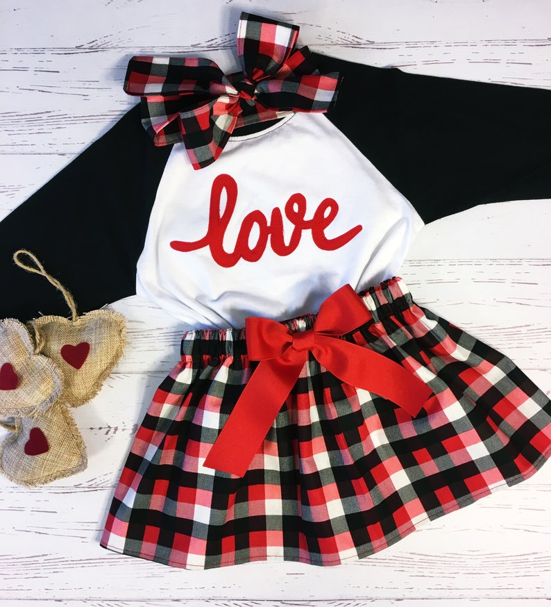 Valentine Outfit for Girls Buffalo Plaid Big Girls Valentine image 0